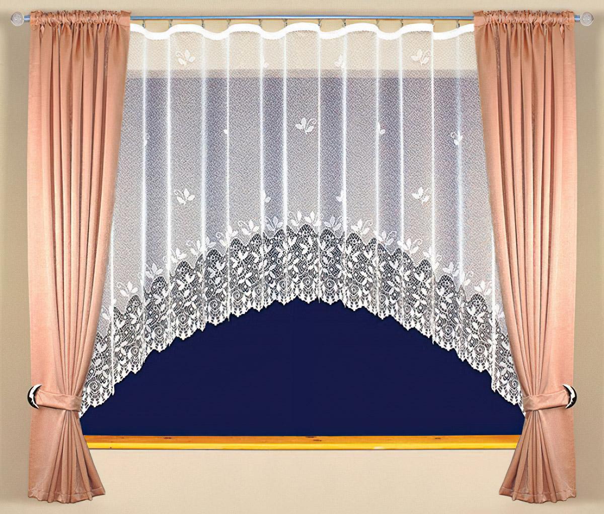 Tylex kusová záclona CHLOE jednobarevná bílá, výška 160 cm x šířka 305 cm (na okno)