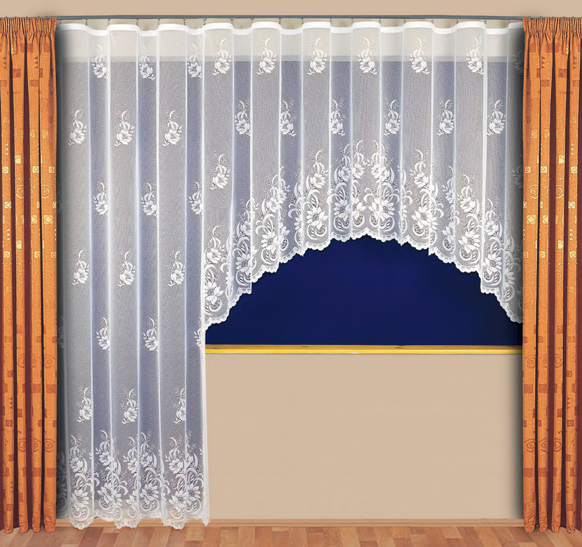 Tylex kusová záclona DONATELA jednobarevná bílá, výška 250 cm x šířka 200 cm (na dveře)