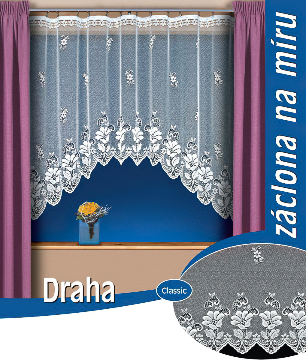 Tylex kusová záclona DRAHA jednobarevná bílá, výška 250 cm x šířka 200 cm (na dveře)