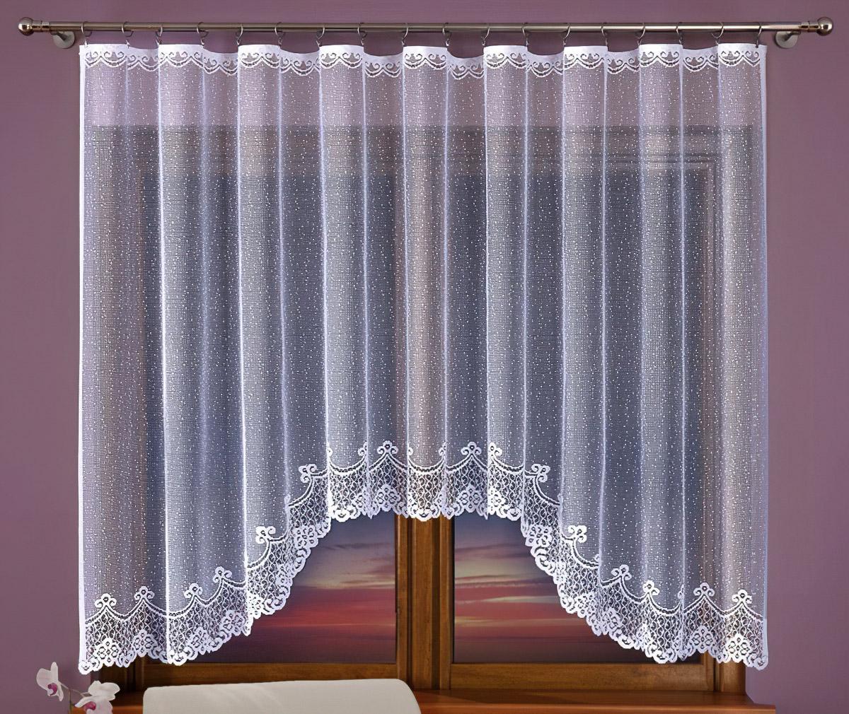 Olzatex kusová záclona KARIBA jednobarevná bílá, výška 160 cm x šířka 300 cm (na okno)