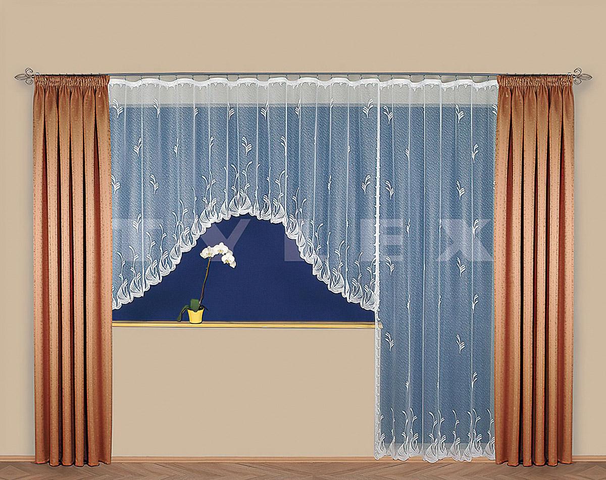 Tylex kusová záclona MARGOT jednobarevná bílá, výška 250 cm x šířka 180 cm (na dveře)