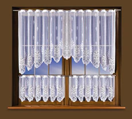 Forbyt Kusová záclona KLEOPATRA BÍLÁ jednobarevná bílá, 1 ks výška 100 cm x šířka 250 cm + 2 ks výška 45 cm x šířka 125 cm (okenní set bílý)