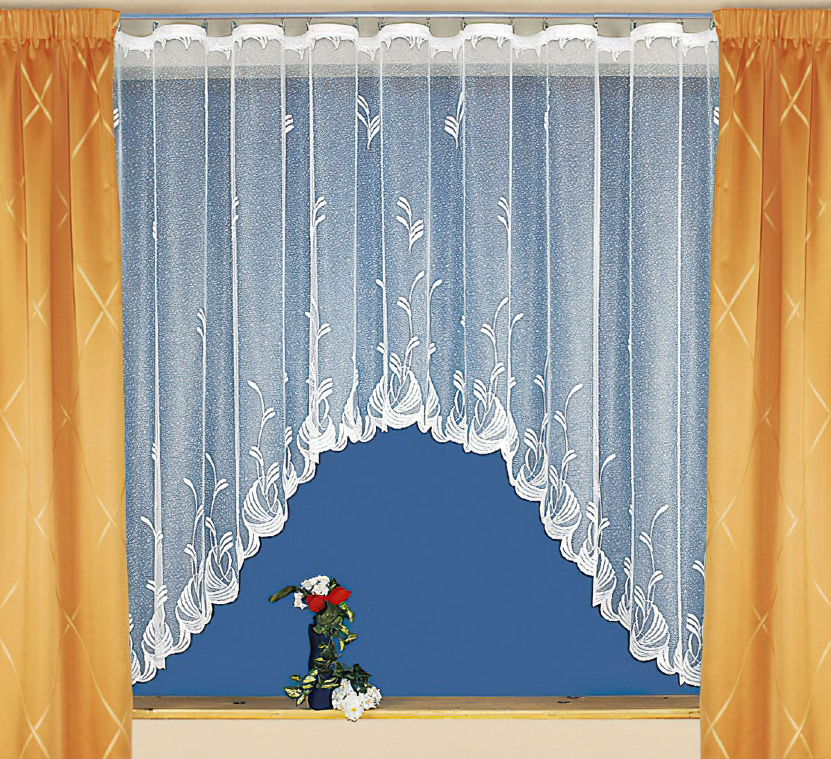 Tylex kusová záclona oblouková MARGOT jednobarevná bílá, v.140 cm x š.230 cm (na okno)