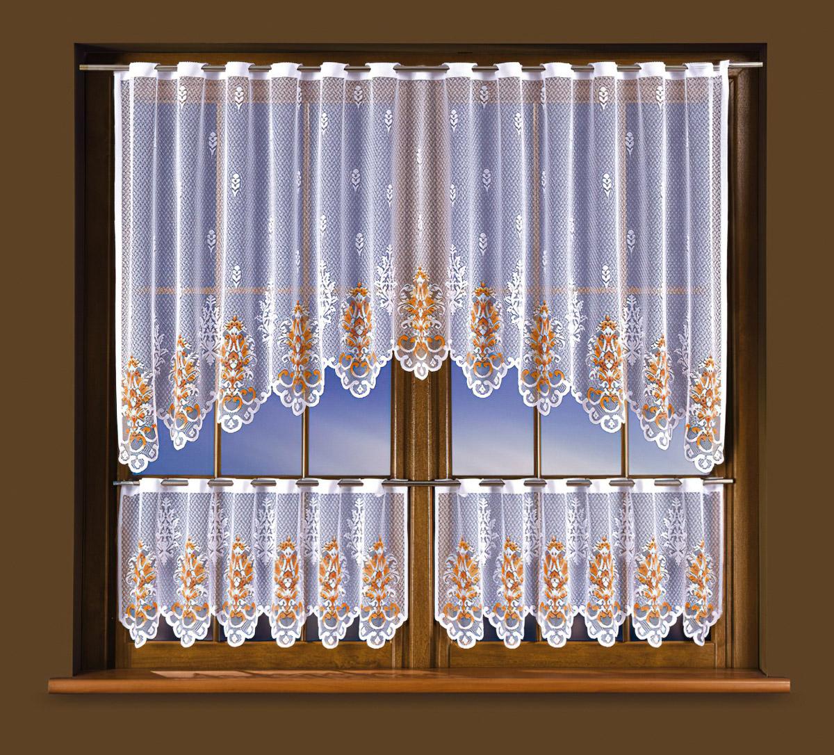 Forbyt Kusová záclona KLEOPATRA ORANŽOVÁ vícebarevná, 1 ks výška 100 cm x šířka 250 cm + 2 ks výška 45 cm x šířka 125 cm (okenní set oranžový)