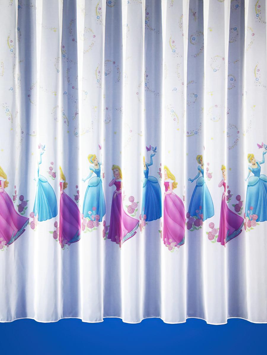 Rand voálová záclona dětská PRINCEZNY 1065/1 barevné princezny, s olůvkem, růžová, výška 280cm ( v metráži)