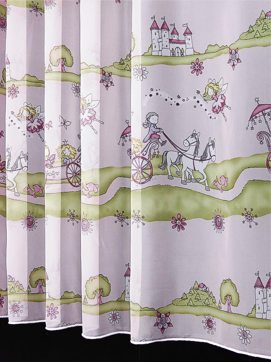 Rovitex voálová záclona dětská 6740/402 růžové princezny, s olůvkem, růžová, výška 60cm ( v metráži)
