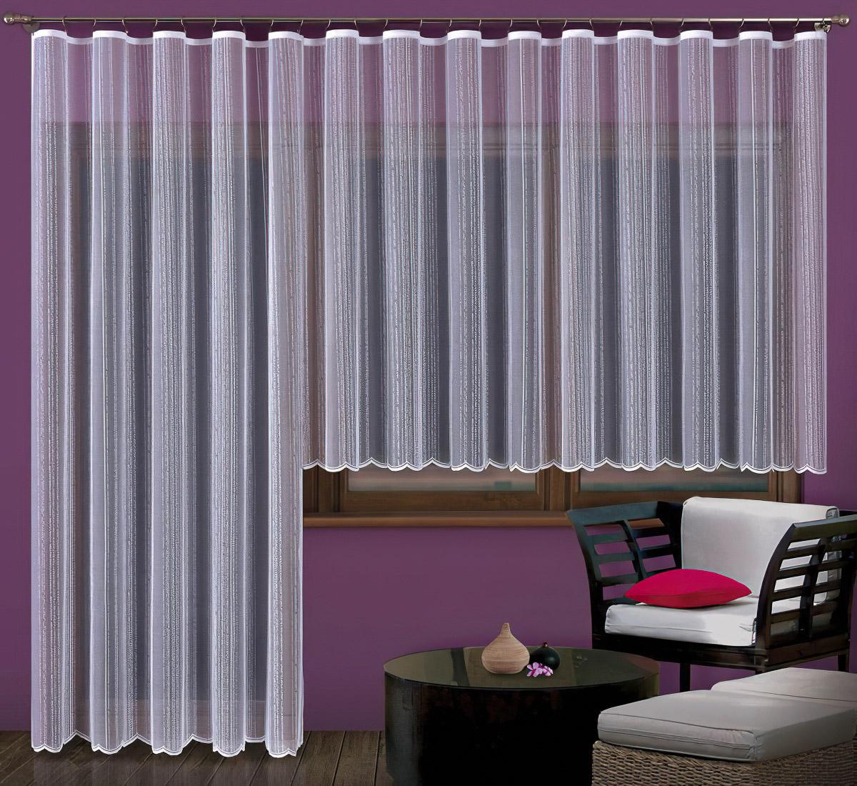 Forbyt kusová záclona ALBA jednobarevná bílá, výška 250 cm x šířka 200 cm (na dveře)