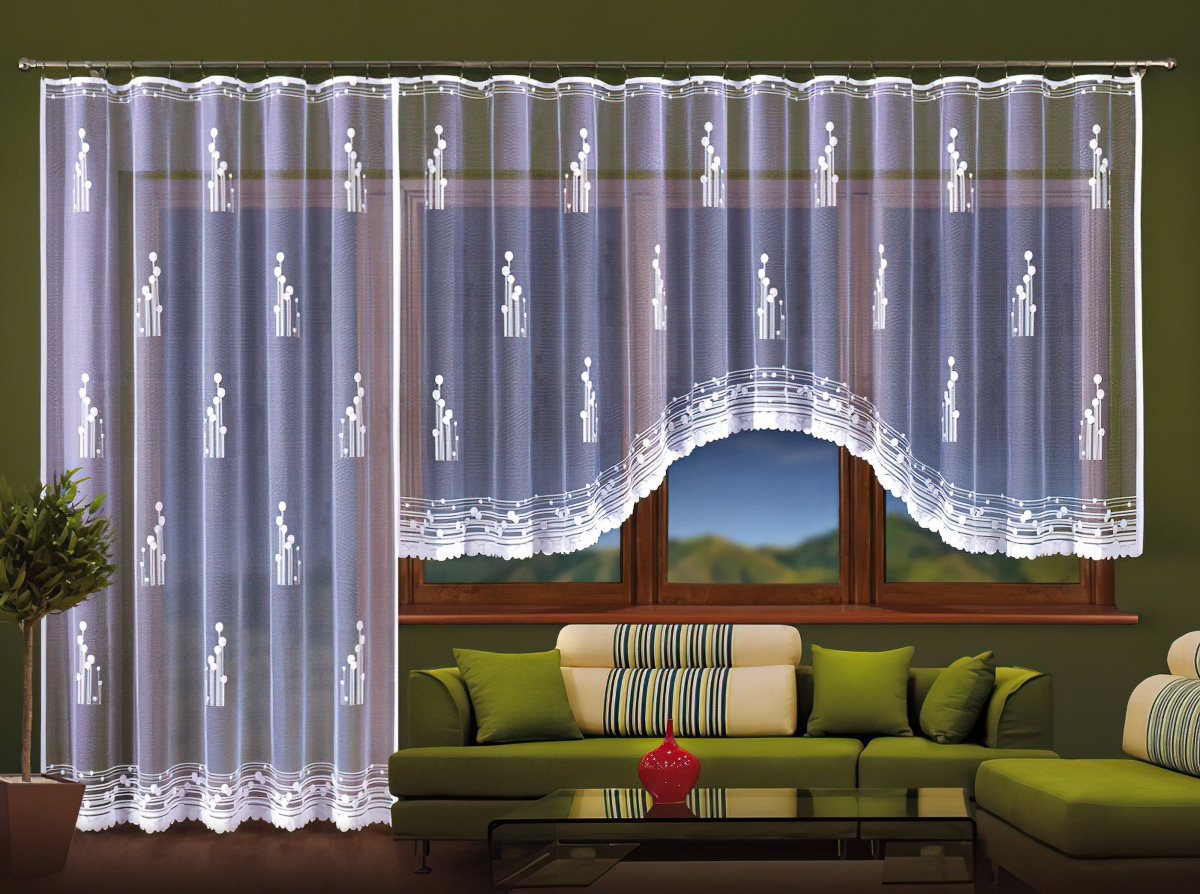 Forbyt Kusová záclona AMADEA jednobarevná bílá, výška 160 cm x šířka 400 cm + výška 250 cm x šířka 200 cm (balkonový set)