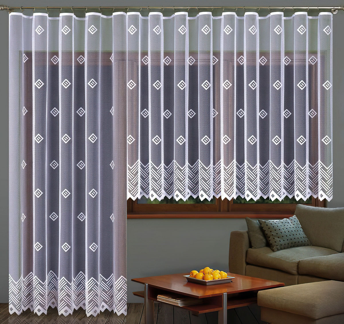 Forbyt Kusová záclona BARBORA jednobarevná bílá, výška 150 cm x šířka 300 cm + výška 250 cm x šířka 200 cm (balkonový set)