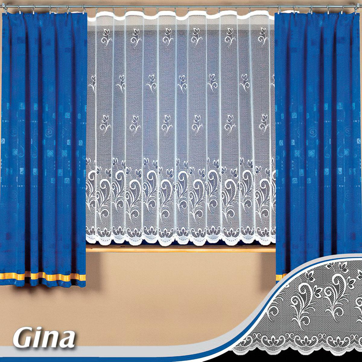Tylex kusová záclona GINA jednobarevná bílá, výška 250 cm x šířka 180 cm (na dveře)