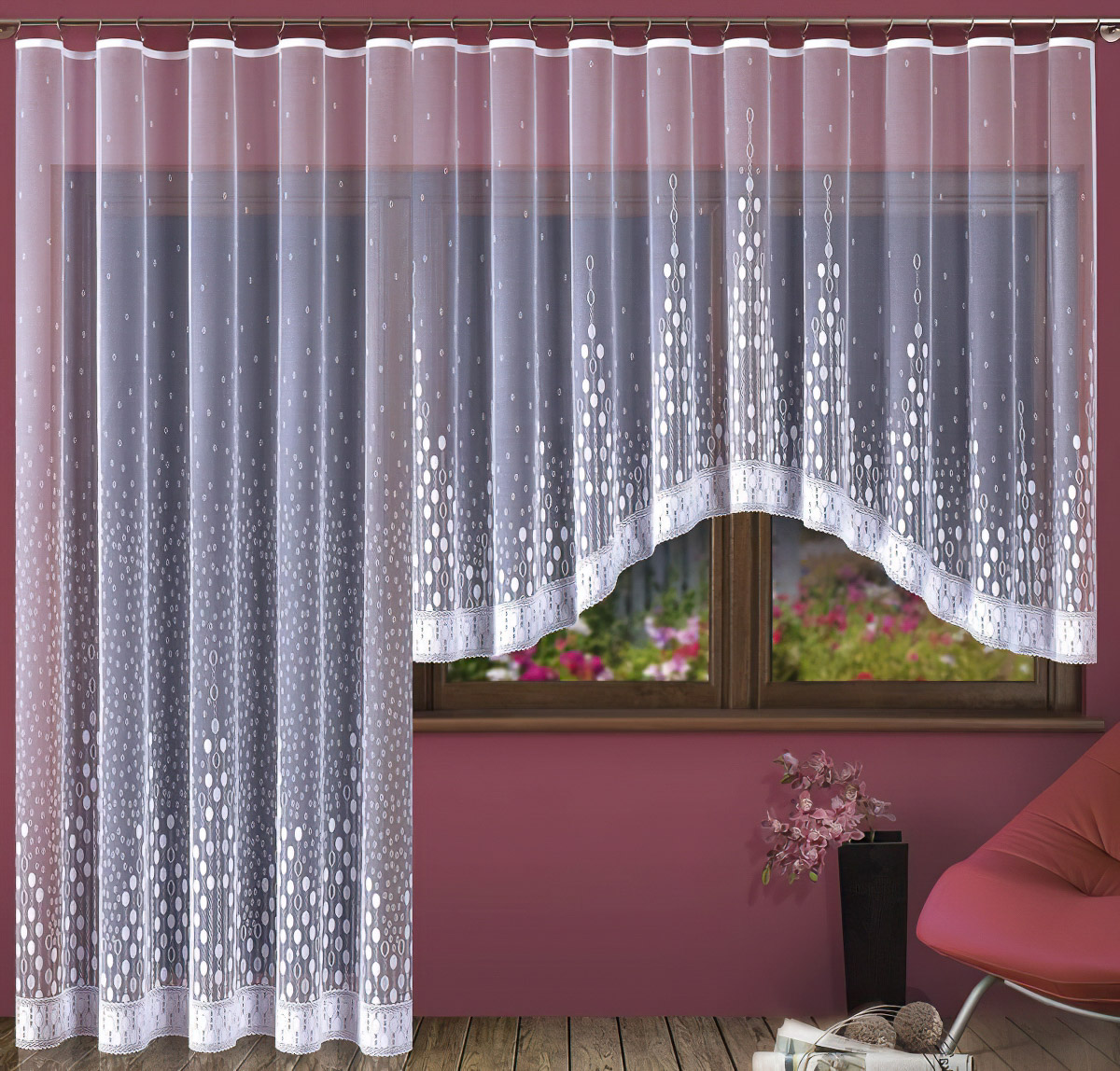 Forbyt kusová záclona PAULA jednobarevná bílá, výška 250 cm x šířka 200 cm (na dveře)