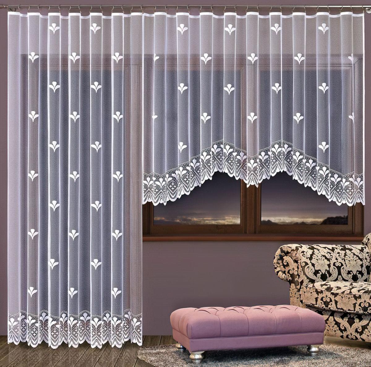Forbyt kusová záclona PETRA jednobarevná bílá, výška 250 cm x šířka 200 cm (na dveře)
