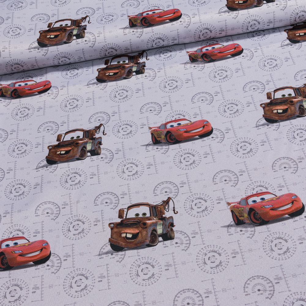 RexDeco zatemňovací závěs, dětský blackout CARS (AUTA) ŠEDÁ, šířka 150cm (látka v metráži)